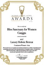 World Luxury Hotel Awards - Bliss Sanctuary For Women, Canggu - 2017 Luxury Holistic Retreat - Asia Winner
