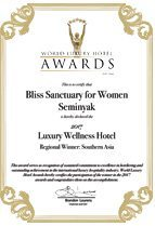 World Luxury Hotel Awards - Bliss Sanctuary For Women, Seminyak - 2017 Luxury Wellness Hotel - Regional Winner Southern Asia