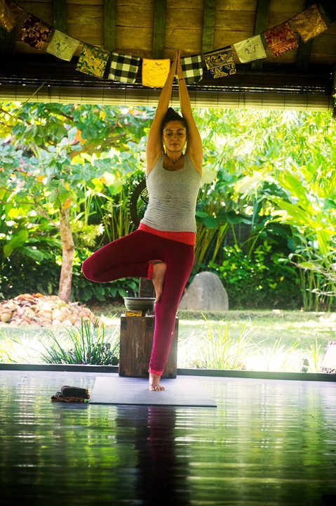 One of our yoga instructors during a class at Bliss yoga and wellness retreat