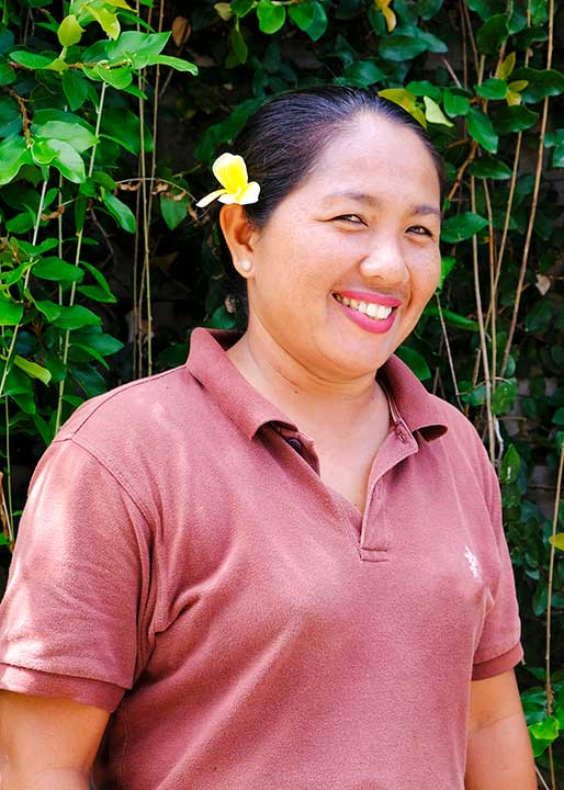 Our people: Sri is our main gardener at our Women's Retreat's Bali