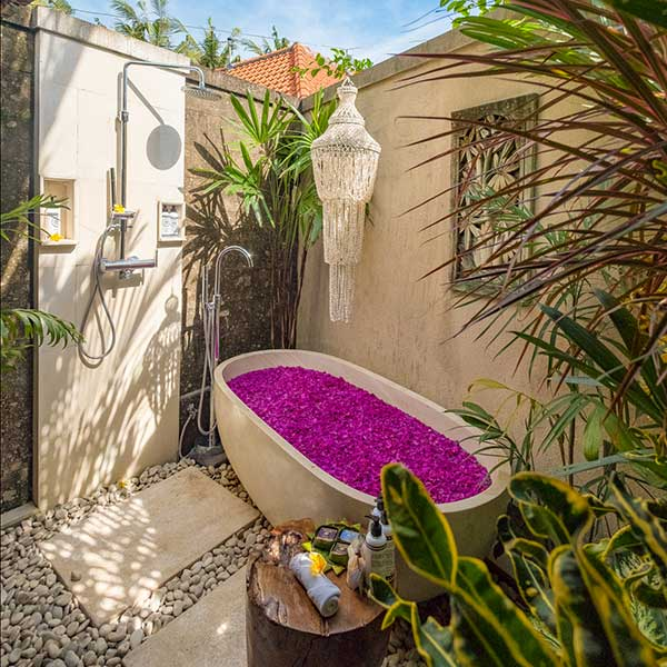 Rose petal bath in Bali retreat, Luxury Double Joglo Room, Bliss Sanctuary For Women, Canggu
