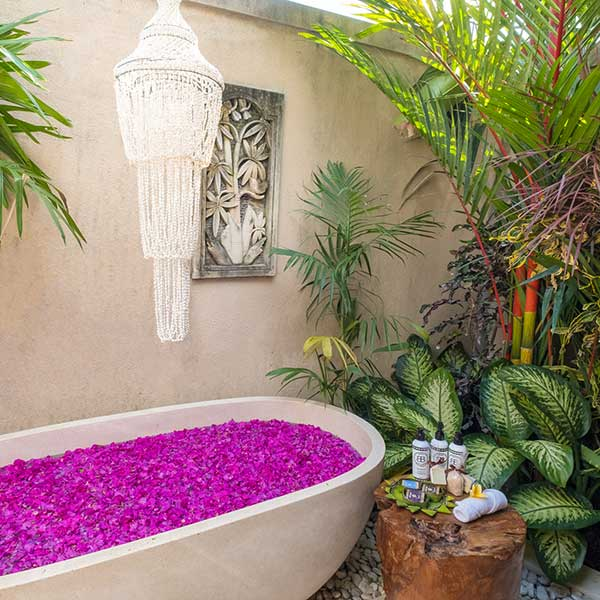 Gorgeous outdoor rose petal bath in Bali retreat, Luxury Double Joglo Room, Bliss Sanctuary For Women, Canggu