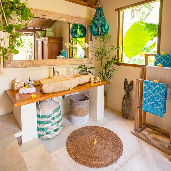 Beautiful bathroom in Bali retreat, Luxury Double Joglo Room, Bliss Sanctuary For Women, Canggu