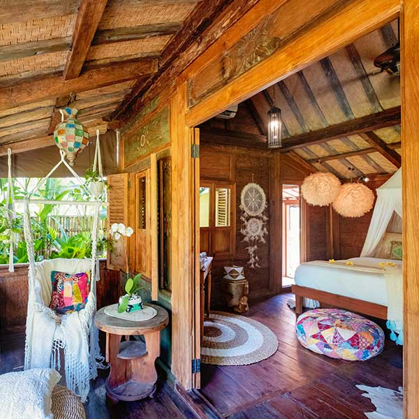 Beautiful bedroom with balcony in Bali retreat, Luxury Double Joglo Room, Bliss Sanctuary For Women, Canggu