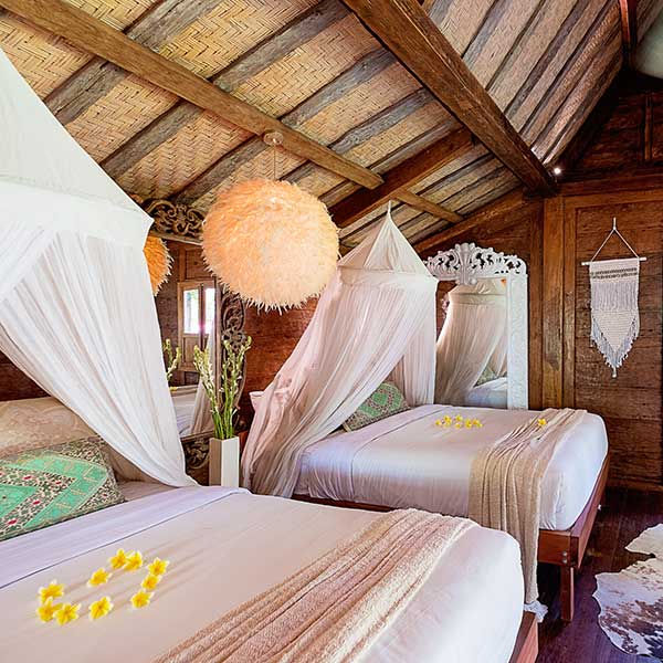 Lush bedroom in Bali retreat, Luxury Double Joglo Room, Bliss Sanctuary For Women, Canggu