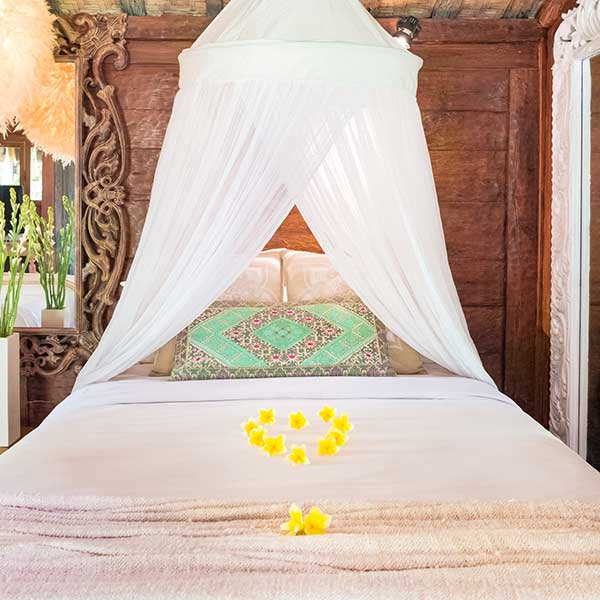 Beautiful mosquito net bedin Bali retreat, Luxury Double Joglo Room, Bliss Sanctuary For Women, Canggu