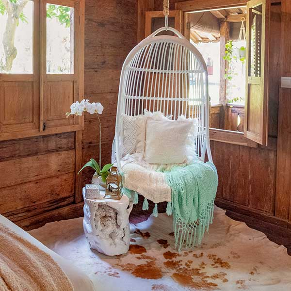 Gorgeous relaxing hanging chair in Bali retreat, Luxury Double Joglo Room, Bliss Sanctuary For Women, Canggu
