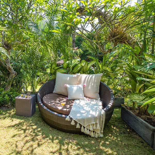 Totally relaxing sunlounge in beautiful green garden in Bali retreat, Bliss Retreat Room, Bliss Sanctuary For Women, Canggu