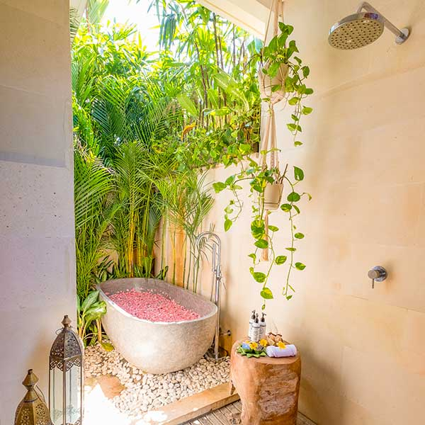 Beautiful outdoor rose petal bath and shower in Bali retreat, Bliss Retreat Room, Bliss Sanctuary For Women, Canggu