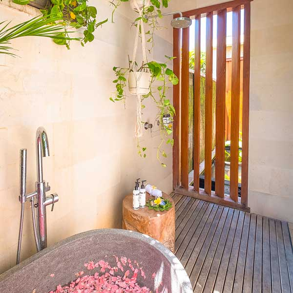 Luxury rose petal bath and shower in Bali retreat, Bliss Retreat Room, Bliss Sanctuary For Women, Canggu