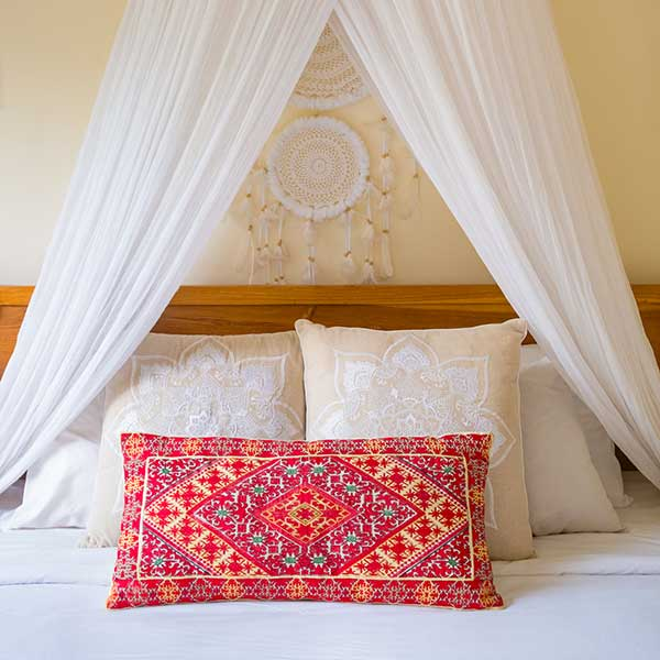 Beautiful bed with flowers in Bali retreat, Garden Bath Retreat Room, Bliss Sanctuary For Women, Canggu