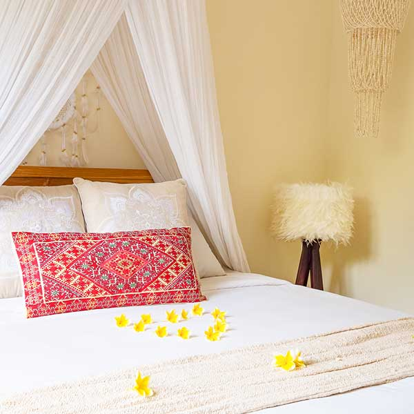 Luxury bed with mosquito net in Bali retreat, Garden Bath Retreat Room, Bliss Sanctuary For Women, Canggu