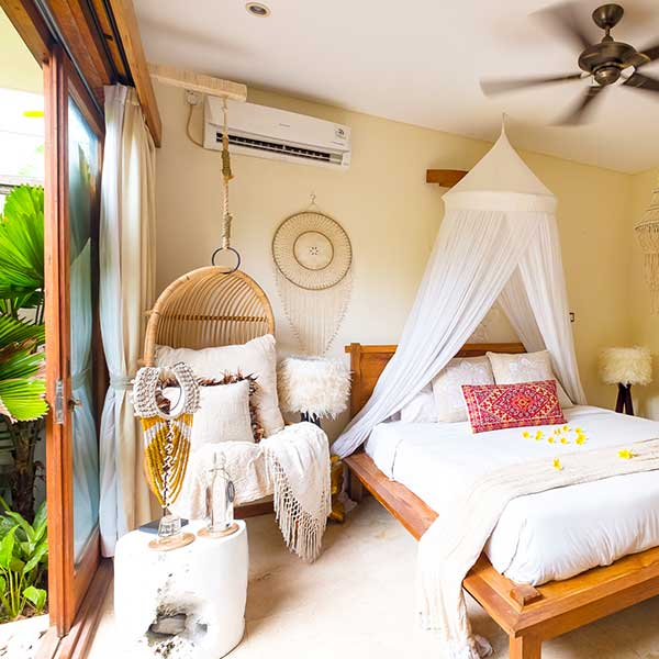 Hanging chair and luxury bed in Bali retreat, Garden Bath Retreat Room, Bliss Sanctuary For Women, Canggu