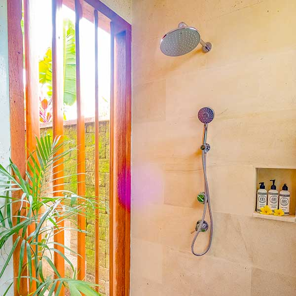 Luxury indoor outdoor shower in Bali retreat, Garden Bath Retreat Room, Bliss Sanctuary For Women, Canggu