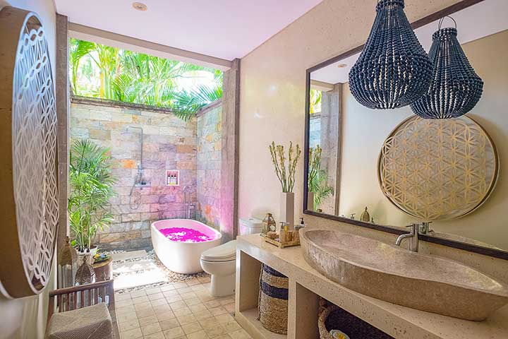 Stunning luxury indoor and outdoor bathroom, Bali retreat, Bliss Sanctuary For Women, Canggu Sanctuary