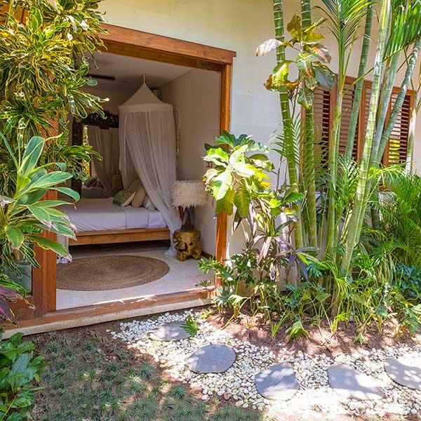 Beautiful lush green garden entrance to luxury bedroom, Bliss Retreat Room, Bliss Sanctuary For Women, Canggu