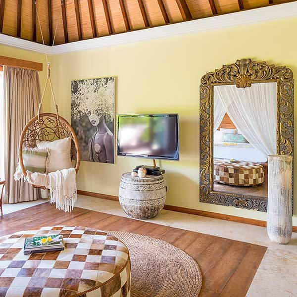Gorgeous hanging chair and relaxing spaces in bedroom in Bali retreat, Blissful Lotus Suite, Bliss Sanctuary For Women, Canggu