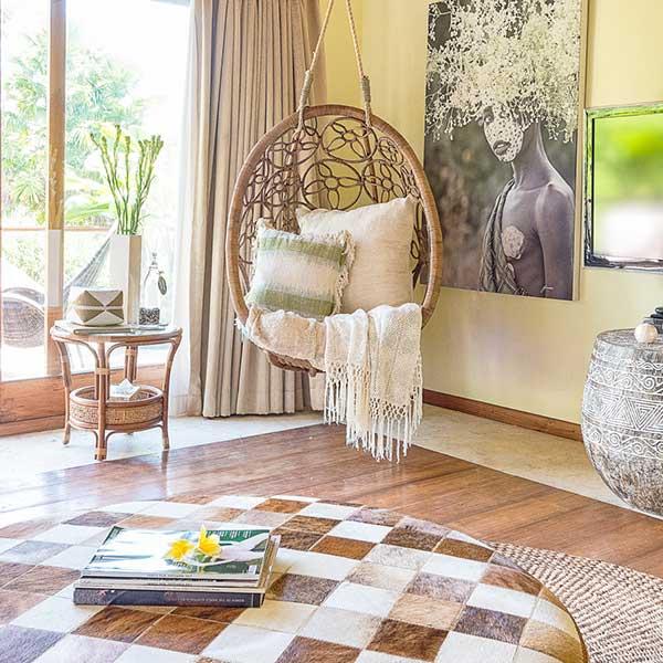 Beautiful relaxing hanging chair in bedroom in Bali retreat, Blissful Lotus Suite, Bliss Sanctuary For Women, Canggu