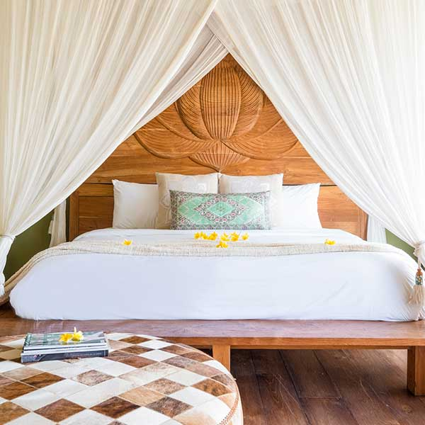 Gorgeous luxury bedroom with King Size bed in Bali retreat, Blissful Lotus Suite, Bliss Sanctuary For Women, Canggu