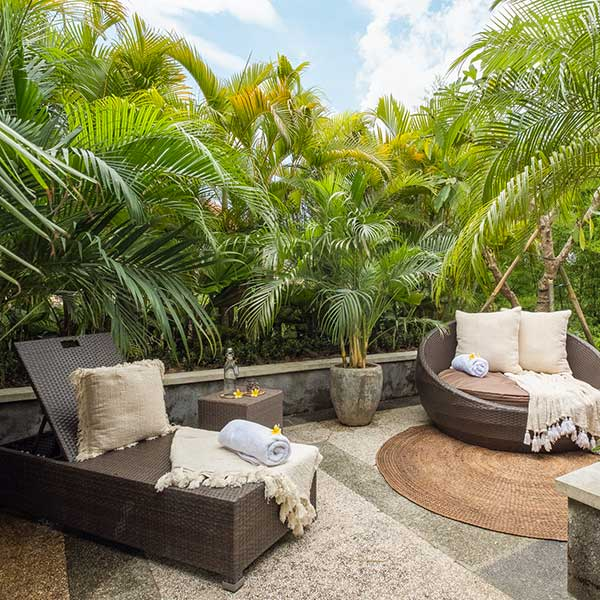 Private balcony for relaxation in Bali retreat, Blissful Lotus Suite, Bliss Sanctuary For Women, Canggu