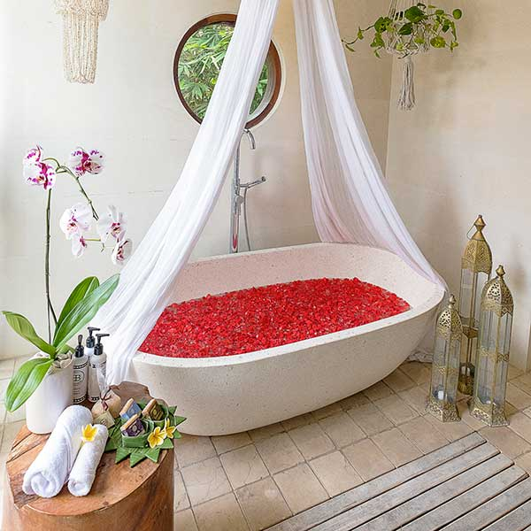 Beautiful rose petal bath in Bali retreat, Blissful Lotus Suite, Bliss Sanctuary For Women, Canggu