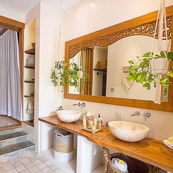 Stunning luxury bathroom in Bali retreat, Blissful Lotus Suite, Bliss Sanctuary For Women, Canggu