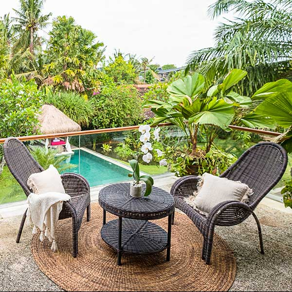 Private balcony overlooking the pool and lush greenery, in Bali retreat, Blissful Lotus Suite, Bliss Sanctuary For Women, Canggu