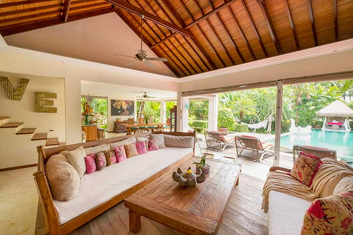 Bliss Sanctuary For Women, Canggu Bali, gorgeous living area, wellness retreat