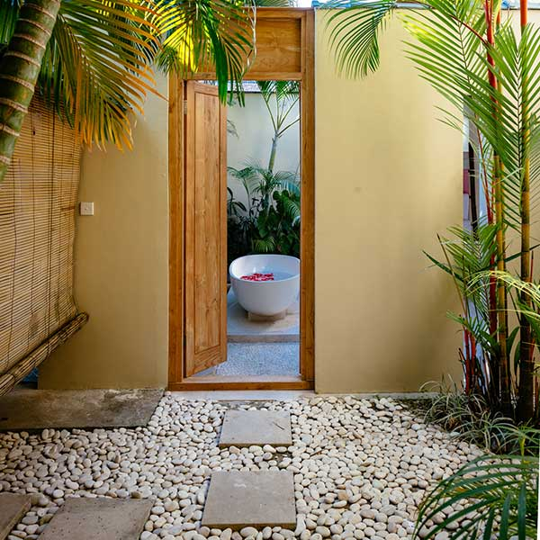 Gorgeous indoor outdoor bathroom spaces in Bali retreat, King Deluxe Pool Room with Loft, Bliss Sanctuary For Women, Seminyak