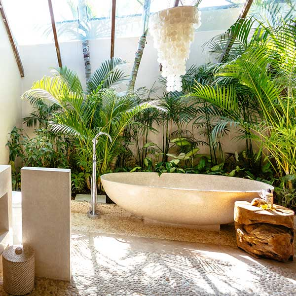 Beautiful bathroom in lush garden setting in Bali retreat, Garden Retreat Room, Bliss Sanctuary For Women, Seminyak