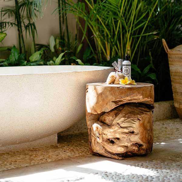 Luxury toiletries with gorgeous stone bath in beautiful bathroom in Bali retreat, Garden Retreat Room Bliss Sanctuary For Women, Seminyak