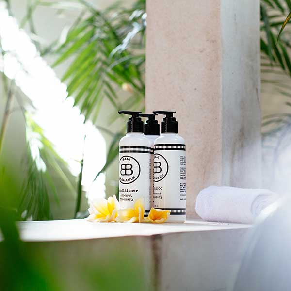 Luxury toiletries in gorgeous bathroom in Bali retreat, King Size Pool Room, Bliss Sanctuary For Women, Seminyak
