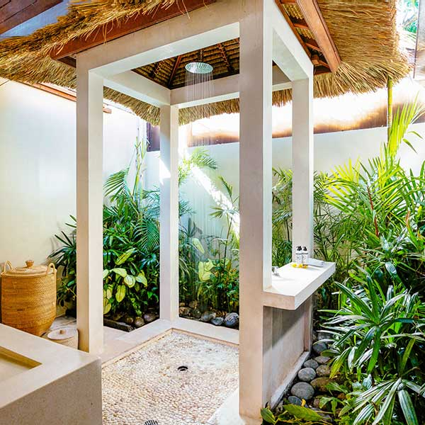 Central rain shower in garden setting in large luxury outdoor bathroom, Poolside Double Room, Bliss Sanctuary For Women, Seminyak