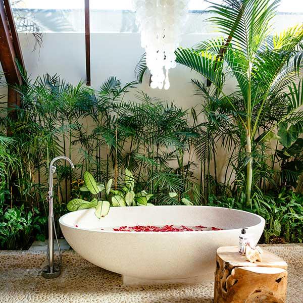 Luxury rose petal stone bath in beautiful bathroom in Bali retreat, Garden Retreat Room Bliss Sanctuary For Women, Seminyak