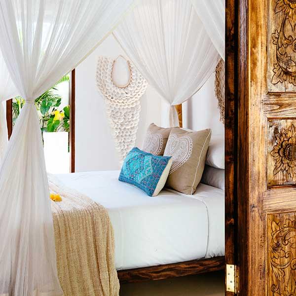 Beautifully decorated luxury bedroom in Bali retreat, Garden Retreat Room, Bliss Sanctuary For Women, Seminyak