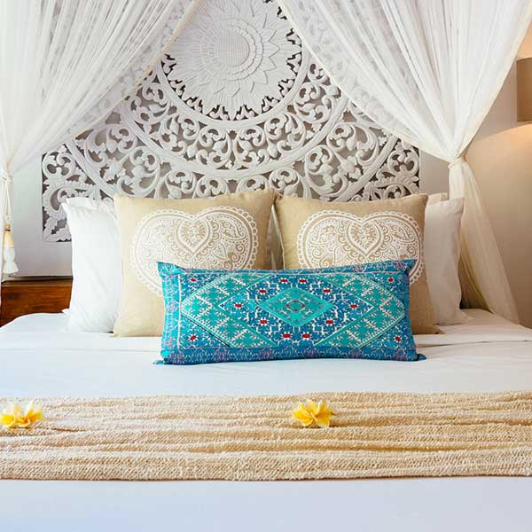 King bed styled beautifully in luxury bedroom in Bali retreat, King Size Pool Room, Bliss Sanctuary For Women, Seminyak