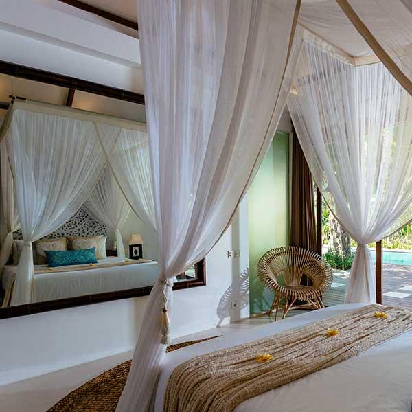 Luxury poolside bedroom with huge mirror in Bali retreat, King Sized Pool Room, Bliss Sanctuary For Women, Seminyak