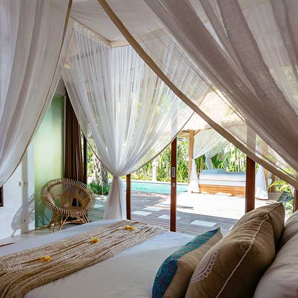 Gorgeous luxury bedroom overlooks pool area in Bali retreat, King Sized Pool Room, Bliss Sanctuary For Women, Seminyak