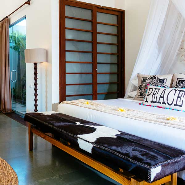 Luxury King Size bed setting in Bali Retreat, Poolside Double Room, Bliss Sanctuary For Women, Seminyak