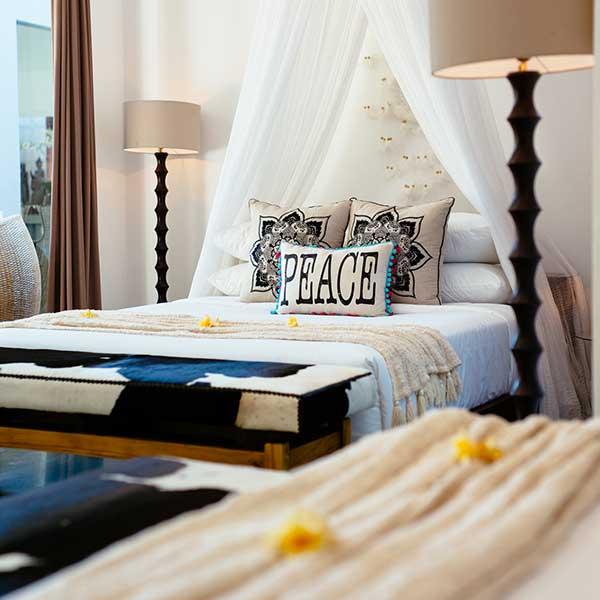 2 King Size beds in luxury Bali Retreat bedroom, Poolside Double Room, Bliss Sanctuary For Women, Seminyak