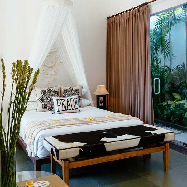 King Size luxury bed in Bali Retreat overlooking lush greenery, Poolside Double Room, Bliss Sanctuary For Women, Seminyak