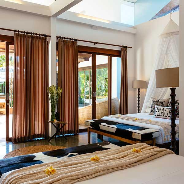 2 beautiful King Size beds in luxury bedroom overlooking the pool, Poolside Double Room, Bliss Sanctuary For Women, Bali retreat in Seminyak