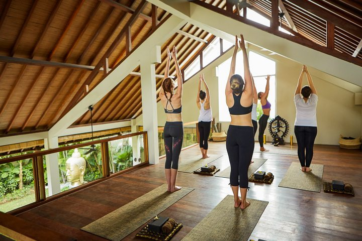 Guests enjoying yoga -at Bliss yoga retreat in Bali guests  truly love their unlimited and varied yoga experience so much more with such varied choices and yoga classes at the sanctuary catering to beginners