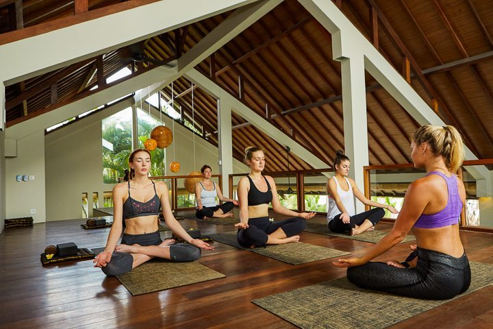 Guests enjoying yoga -at Bliss yoga retreat in Bali -  guests truly love having  unlimited and varied yoga classes to attend