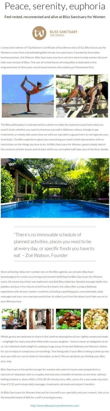 Yoga Magazine - Bali Sanctuary with Unlimited Yoga for Women