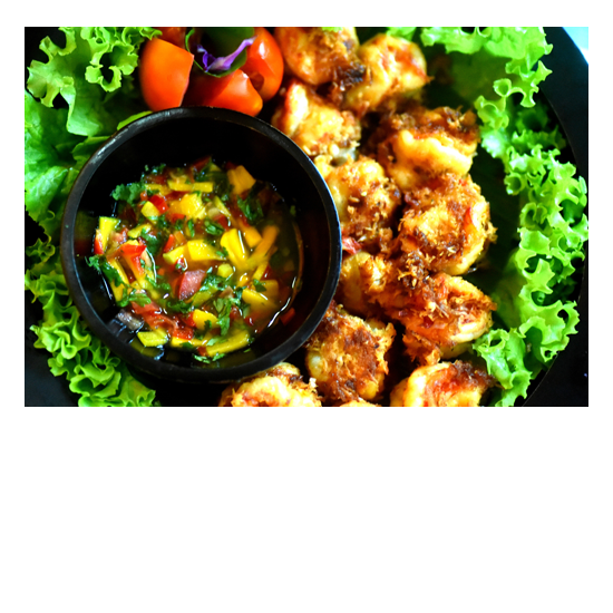 Delicious Healthy Food is unlimited at Bliss Bali Retreat -Coconut Prawns