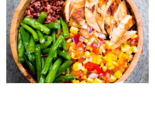 Unlimited Food at Bliss Retreat Bali - Chicken and Spicy Salsa Healthy Bowl