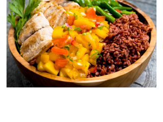 Unlimited food at Bliss Bali Retreat - Mahi Mahi Mango Salsa Healthy Bowl