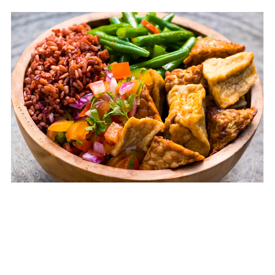 Unlimited Food at Bliss Retreat Bali - Tofu and Tomato Salsa Healthy Bowl
