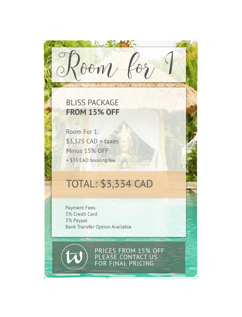 Room for 1 - Bliss Package 15% off CAD